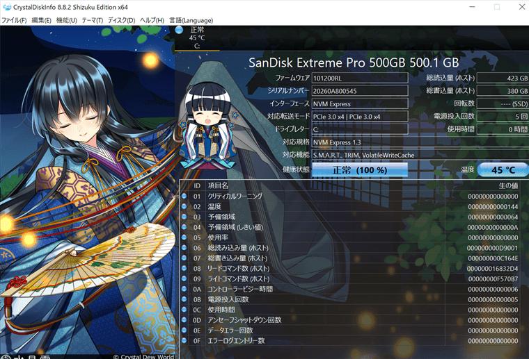 SanDisk SSD M.2 NVMe 3D Extreme PROシリーズ 500GB+銅製ヒートシンクでの通常時