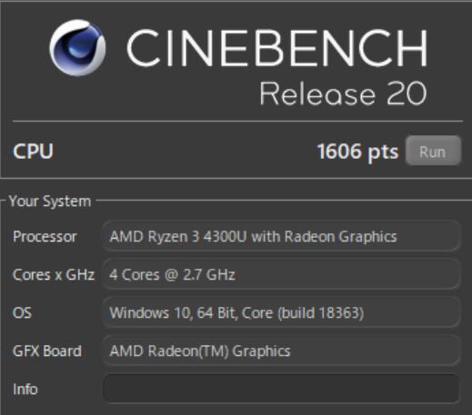 Lenovo IdeaPad Slim 350(AMD Ryzen 3 4300Uモデル)のCINEBENCH
