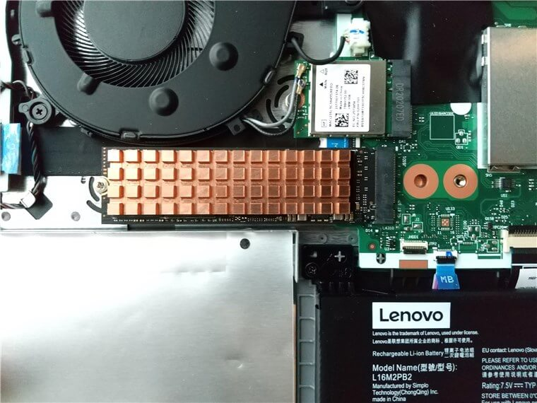 Lenovo IdeaPad Slim 350のSSDを換装して銅ヒートシンクを取り付け