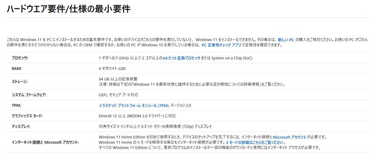 Windows11の最小適用条件(公式ページ)
